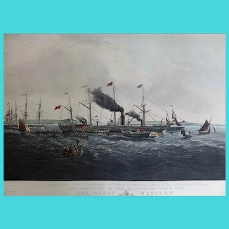 HUGE Engraving of the Steam Ship 'The Great Western' 1840 ~ Joseph Walter 1783–1856  1970s Restrike from the original plates