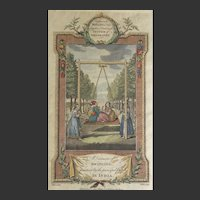 1782 'A Diversion of Swinging in India' Hand Coloured Print Wale-Walker