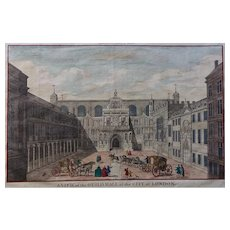 1756 'The Guildhall of The City of London' Original copper plate Engraving - Later Hand Colouring
