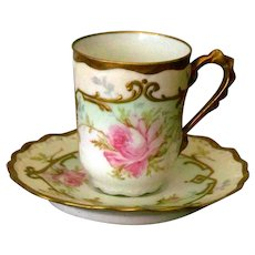 Limoges Demi-tasse cup and saucer with Roses