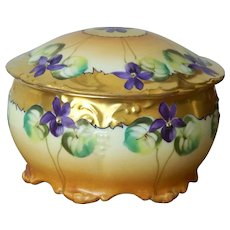 Handpainted Powder Dish with Violets marked Pickard