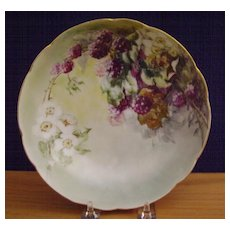 Antique Limoges Handpainted Bowl decorated with Blackberries