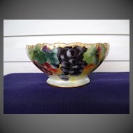 Antique Limoges Handpainted Punch Bowl with Grapes