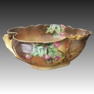 Antique Limoges Handpainted Handled Bowl