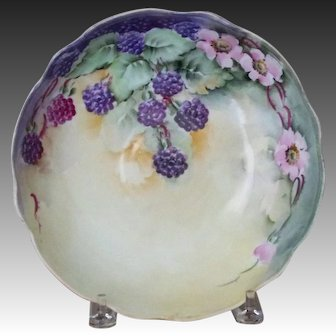 Vintage Handpainted Bowl with Blackberries