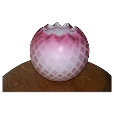 Diamond quilted satin glass rose bowl