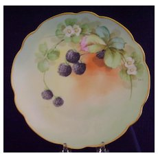 Antique Handpainted Plate with Berries, Pickard Studios