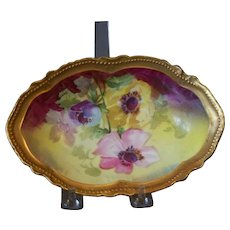 Handpainted Limoges Bowl with Poppies by Rancon