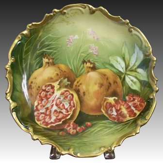 Antique Limoges Wall Plaque with Pomegranates