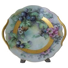 Antique Bavaria Handpainted Cake Plate with Blackberries