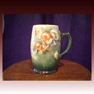 Antique Belleek Tankard Mug with Cherries
