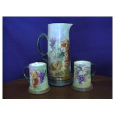 Antique Limoge Handpainted Tankard Pitcher and mugs with Grapes