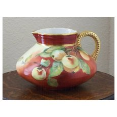 Galois style Handpainted Pitcher with Cherries