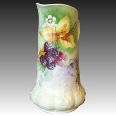 Antique Limoges Handpained Pitcher with Blackberries