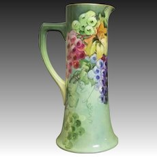 Handpainted Limoges Tankard with Grapes