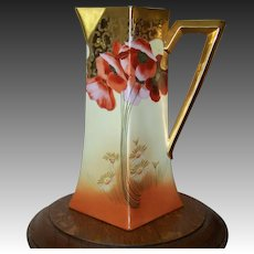 Limoges Handpainted Tankard Pitcher with Poppies and Daisies by Osborne