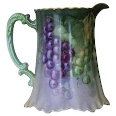 Antique Haviland Handpainted Pitcher with Grapes