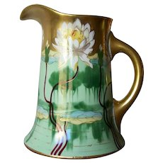 Handpainted Pickard Pitcher with Pond Lily by Leach