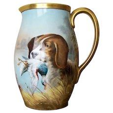 Handpainted pitcher Hunting Dog by Heidrich