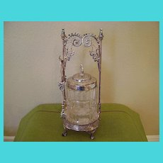Antique Middletown Silver Plate and Glass Pickle Castor