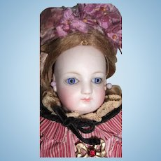 "Charming 11 1/2"" Barrois Antique French Fashion Doll - Lovely Accessories!"