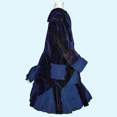 Circa 1880's blue silk and velvet dress for large antique doll - layaway
