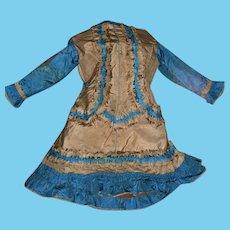 Amazing Antique Silk Doll Child's Dress Circa 1890 - Layaway