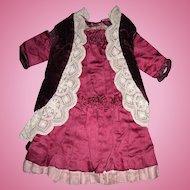 Antique Bru Maroon Velvet and Silk Doll Dress