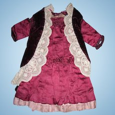 Antique Bru Maroon Velvet and Silk Doll Dress
