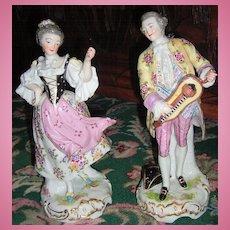 Large Pair of Antique Figurines