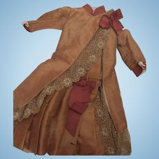 RARE Antique Silk Child's Dress for Large Doll - Bustle - Lined - Layaway
