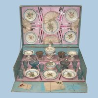 Fabulous French Antique Doll Dishes in Presentation Box 1889 Marked Fabrique Francaise CBG Paris LAYAWAY