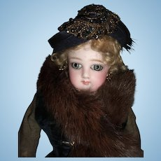 "15"" All Original Jumeau French Fashion Doll Huge Almond Eyes  Circa 1878- Fur Faux Stole - Stunning Dress Boots - Layaway"