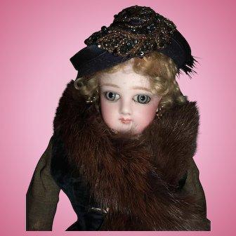 "15"" All Original Jumeau French Fashion Doll Huge Almond Eyes  Circa 1878- Fur Faux Stole - Stunning Dress Boots - Layaway"