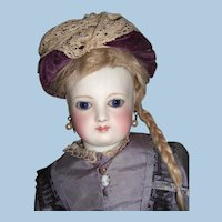 "15"" Circa 1870's All Original Antique French Fashion Doll Original Silk Dress, wig - Cobalt Spiral Eyes - Layaway"