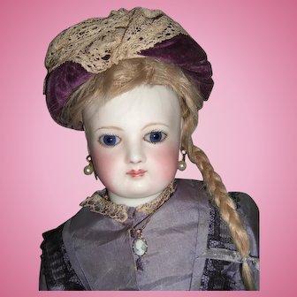 "15"" Circa 1870's All Original Antique French Fashion Doll Original Silk Dress, wig - Cobalt Spiral Eyes - Layaway"