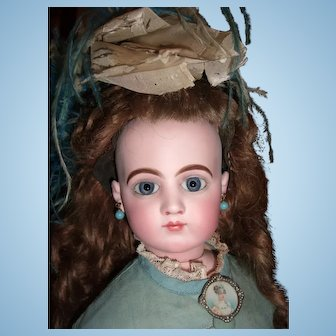 """Outstanding 26"""" Jumeau French Fashion Antique Doll Spiral Eyes - Elaborate Ball Gown Circa 1875 - Accessories - Layaway"""