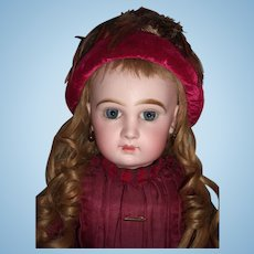 "20"" Tete Jumeau Antique Doll Antique Dress RARE Hat- Layaway"
