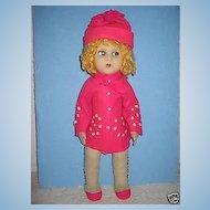 "21"" RARE ALL ORIGINAL Felt Doll by Messina Vat- Lenci Competitor"
