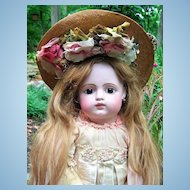 "LAYAWAY 28"" FG Block Closed Mouth French Antique Doll w/RARE Gesland Label COUTURE Dress"