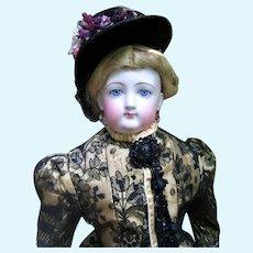 "Beautiful 22"" Francois Gaultier Antique French Fashion Doll - Elaborate Silk Dress - Layaway"