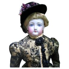 "Beautiful 22"" Francois Gaultier Antique French Fashion Doll - Elaborate Silk Dress - Layaway"