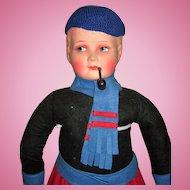 "25"" Dutch Boy Antique Doll - Mache & Felt"