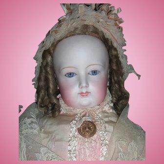 """Stunning 28"""" Francois Gaultier French Fashion Doll w/original Wig, silk gown - unusual spiral eyes - layaway"""