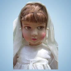 "18"" Raynal Cloth Doll Circa 1930 in Original Communion Dress - Layaway"