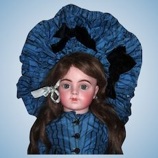 "Stunning 30"" Bru Jne R Antique Doll W/Original Couture Silk Dress, Hat, Wig - Layaway"