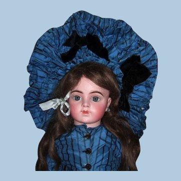 "Stunning 30"" Bru Jne R Antique Doll W/Original Couture Silk Dress, Hat, Wig - Layaway"
