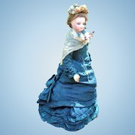 "FABULOUS 18"" Jumeau Antique French Fashion Doll - Original Antique Gown, Boots, Wig, Rosary - Layaway"