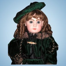 "Classic Winter Jumeau Reclame Antique Doll 28"" in Stunning Green Velvet Coat & Dress - Layaway"