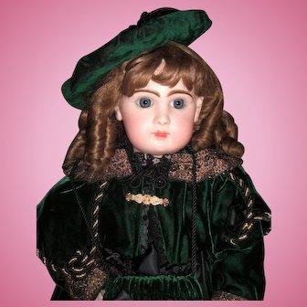 "Classic Winter Jumeau Reclame Antique Doll 28"" in Stunning Green Velvet Coat & Dress - Layaway"